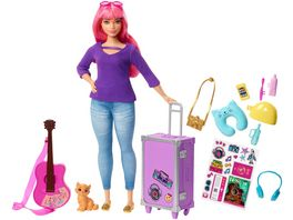 Barbie Daisy Reise Puppe pinke Haare mit Zubehoer Anziehpuppe Modepuppe