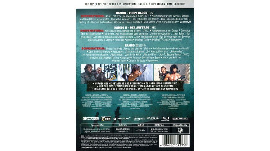 Rambo Trilogy Uncut 4K Ultra HD 3 BR4K 3 BRs