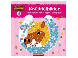 Die Spiegelburg Mein kleiner Ponyhof Knueddelbilder 6 Motivkarten und 10 Boegen Seidenpapier