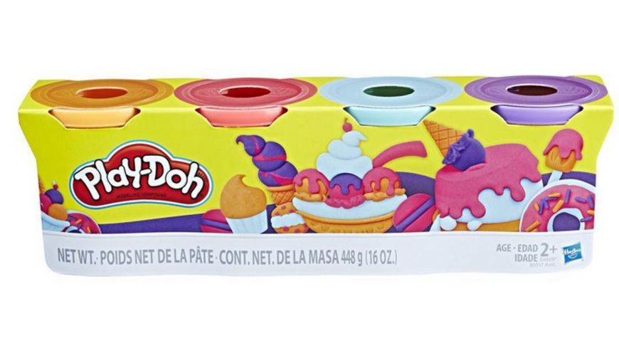 Hasbro Play Doh 4er Pack blau orange tuerkis gelb