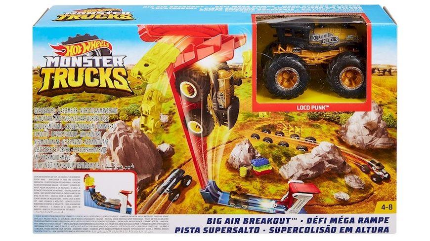 Mattel Hot Wheels Monster Trucks Mega Sprung Blaster mit 1 64 Die Cast Truck
