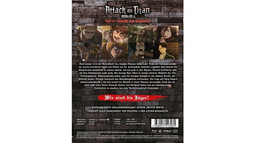 Attack on Titan Anime Movie Teil 3 Gebruell des Erwachens Steelcase Limited Edition
