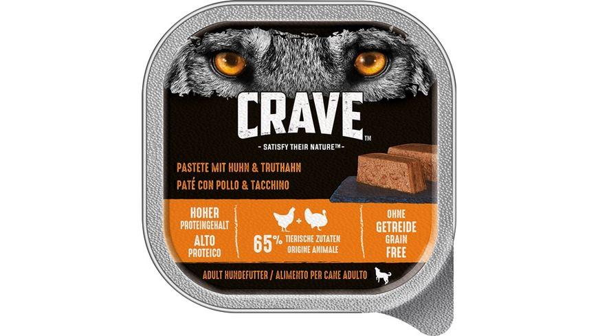 CRAVE Hundenassfutter Pastete mit Huhn Truthahn