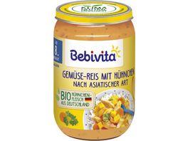 Bebivita Babyglaeschen Brei Gemuese Reis mit Huehnchen Suess Sauer ab dem 8 Monat