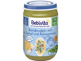 Bebivita Menues ab dem 12 Monat Bandnudeln mit Spinat und Rahmgemuese