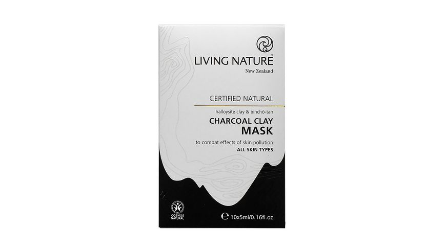 LIVING NATURE Charcoal Clay Mask Kohle Tonerde Maske Set
