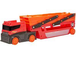 Hot Wheels Mega Truck fuer Spielzeugautos Spielzeug LKW mit Platz fuer 50 Autos