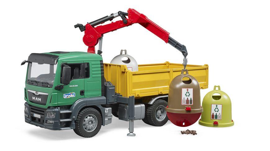 BRUDER MAN TGS LKW mit Ladekran 3 Altglascontainern und Flaschen 62730