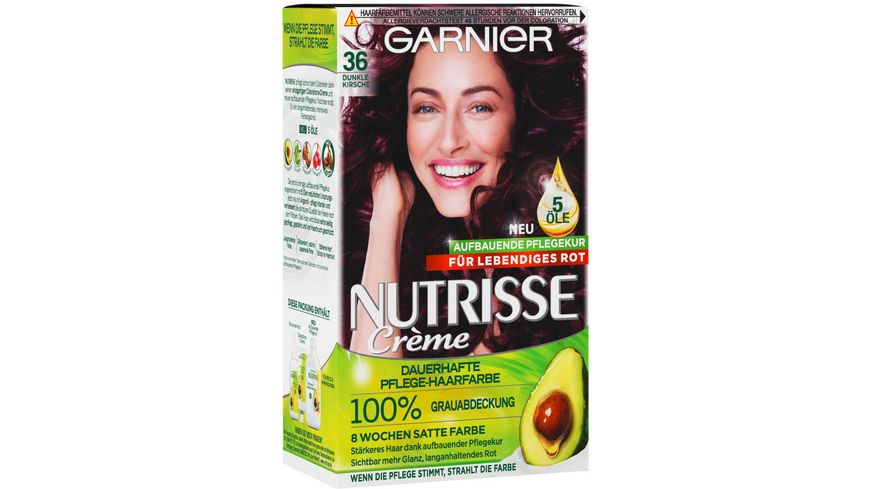 GARNIER Nutrisse Creme dauerhafte Pflege Haarfarbe Nr 36 Dunkle Kirsche