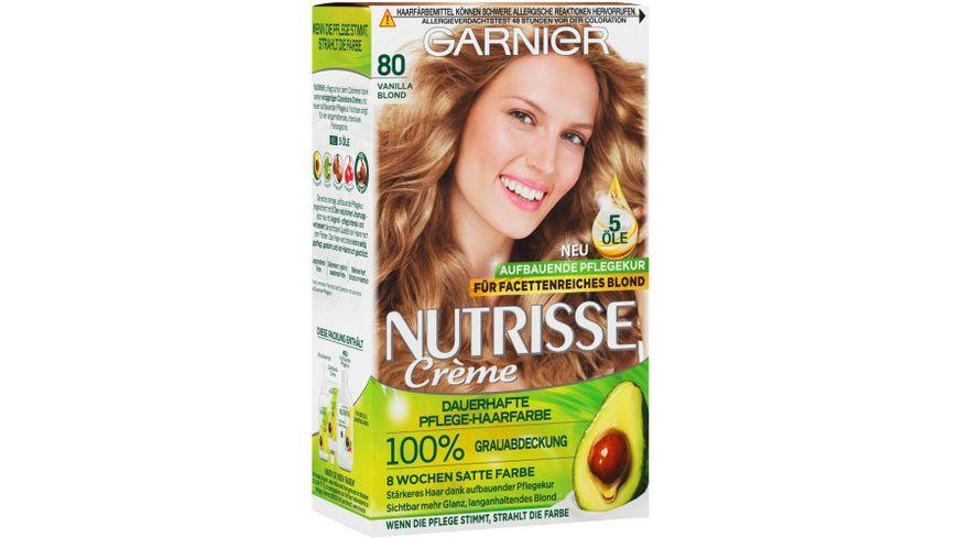 GARNIER Nutrisse Creme dauerhafte Pflege Haarfarbe Nr 80 Vanilla Blond