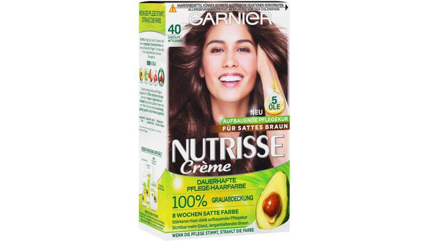 GARNIER Nutrisse Creme dauerhafte Pflege Haarfarbe Nr 40 Chocolate Mittelbraun