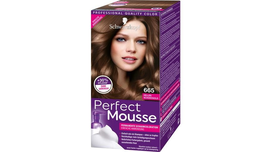 Schwarzkopf PERFECT MOUSSE Schaumcoloration 665 Helles Schokogold Stufe 3