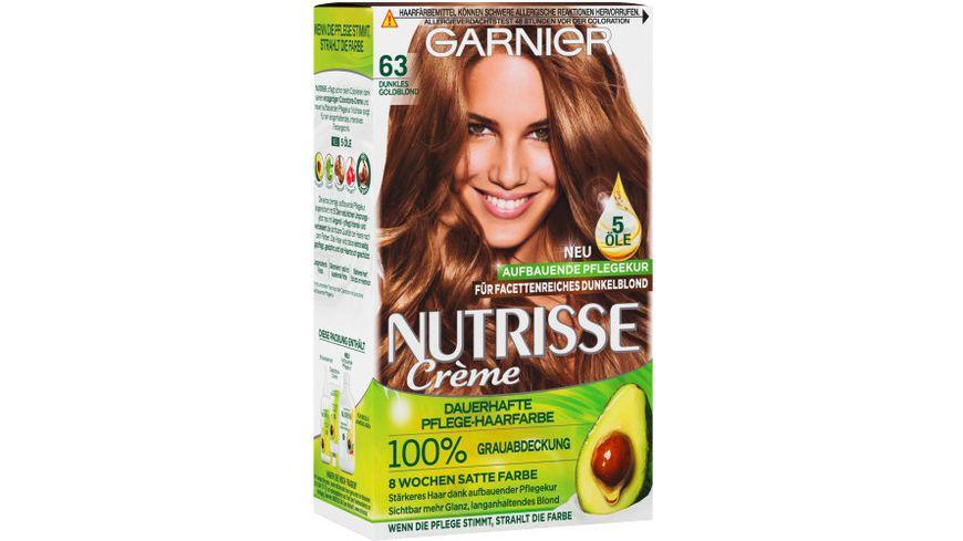 GARNIER Nutrisse Creme dauerhafte Pflege Haarfarbe Nr 63 Dunkles Goldblond