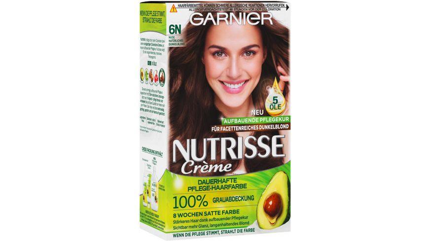 GARNIER Nutrisse Creme dauerhafte Pflege Haarfarbe Nr 6N Nude Natuerliches Dunkelblond