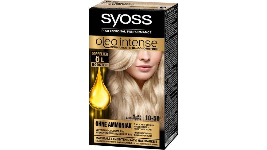 syoss Oleo Intense Permanente Oel Coloration 10 50 Helles Aschblond