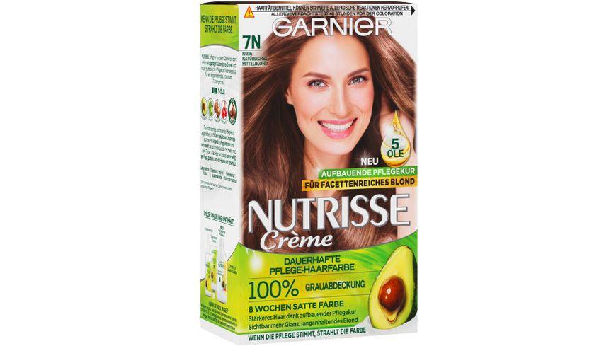 GARNIER Nutrisse Creme dauerhafte Pflege Haarfarbe Nr 7N Nude Natuerliches Mittelblond