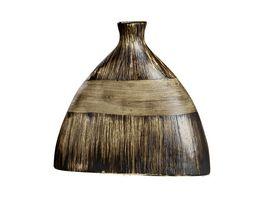 GILDE Keramik Ethno flache Vase Marron 25cm