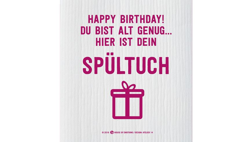 HOUSE OF EMOTIONS Spuellappen Happy Birthday