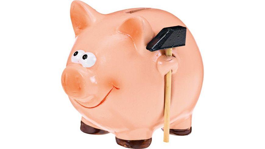 Sparschwein mit Hammer klein