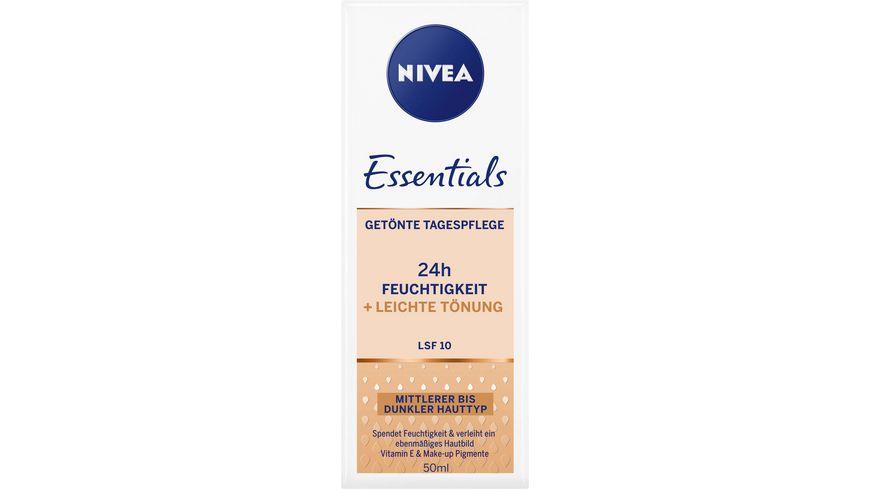 NIVEA Essentials Getoente Tagespflege Mittel Dunkel LSF 10