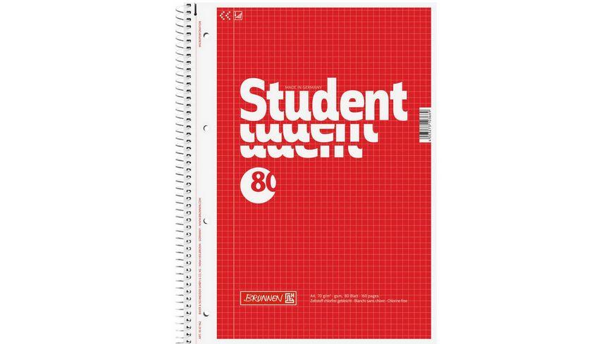 BRUNNEN Collegeblock A4 80 Blatt kariert rot