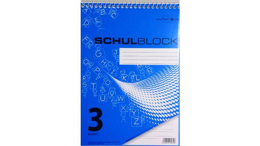 PAPERZONE Spiralschulblock A5 Lineatur 3 50 Blatt