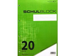 PAPERZONE Schulblock A4 Lineatur 20 100 Blatt