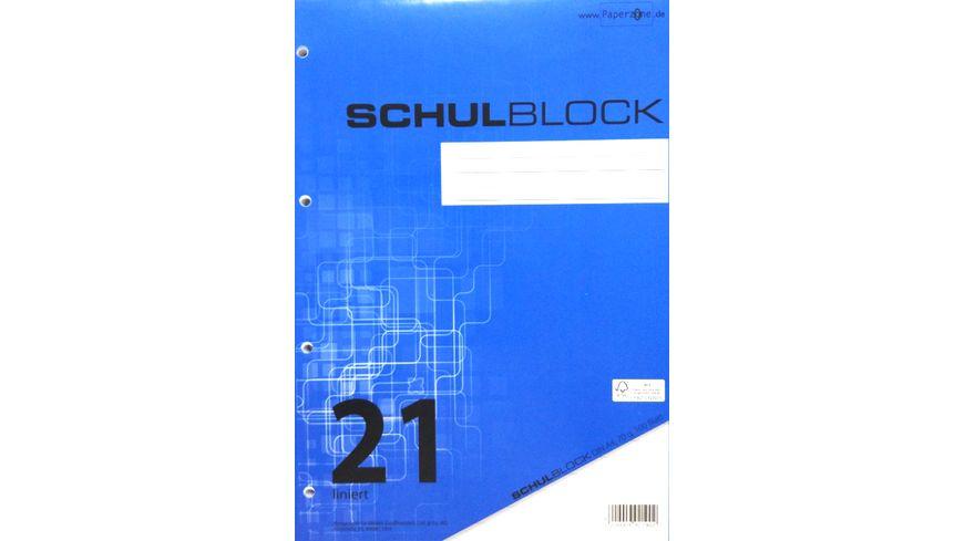 PAPERZONE Schulblock A4 Lineatur 21 100 Blatt