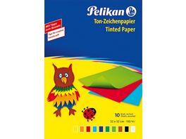 Pelikan Tonpapier Heft A4 10 Blatt farblich sortiert
