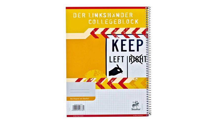BRUNNEN Collegeblock fuer Linkshaender A4 kariert 80 Blatt