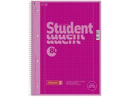 BRUNNEN Collegeblock A4 80 Blatt kariert pink