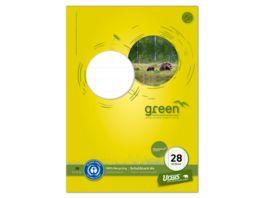Ursus Green Schulblock Lineatur 28 A4 50 Blatt 5mm kariert Randlinien