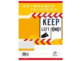 Collegeblock fuer Linkshaender A4 liniert 80 Blatt