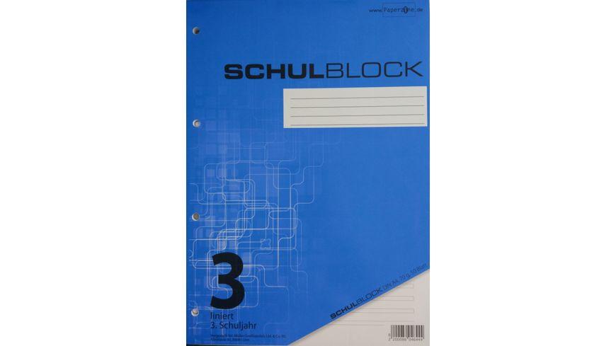 PAPERZONE Schulblock A4 Lineatur 3 50 Blatt