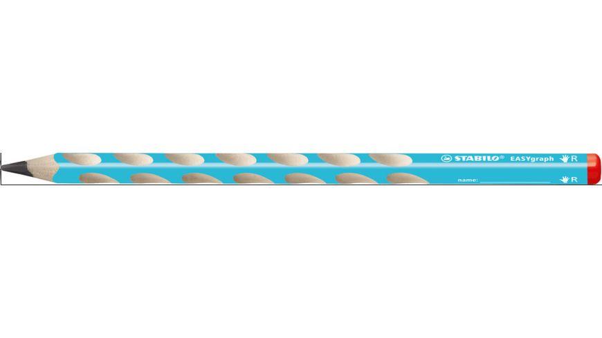 STABILO® Ergonomischer Dreikant-Bleistift für Rechtshänder - STABILO EASYgraph in blau - Einzelstift - Härtegrad HB