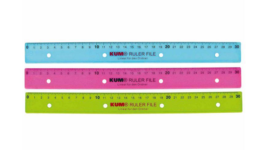 KUM Lineal 30cm zum Abheften sortiert