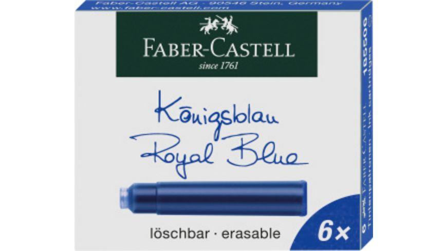 FABER CASTELL Tintenpatronen 6er Pack koenigsblau loeschbar
