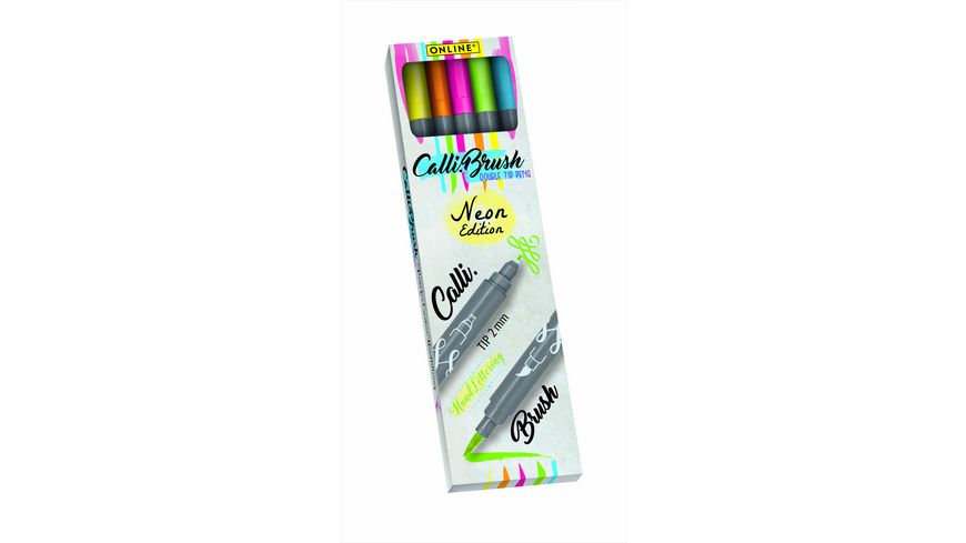 ONLINE Calligraphy Brush Pen Set Neon