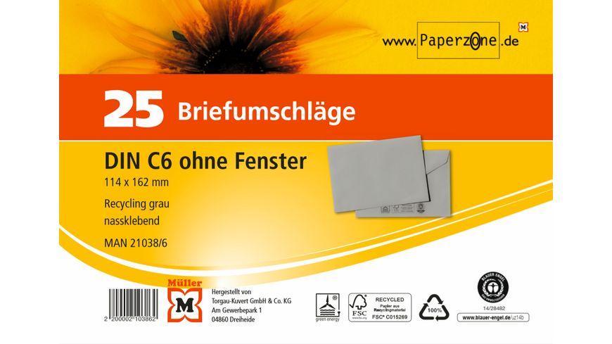 PAPERZONE Briefumschlag C6 recycling grau