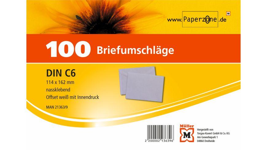 PAPERZONE Briefumschlag C6 nassklebend weiss 100Stueck