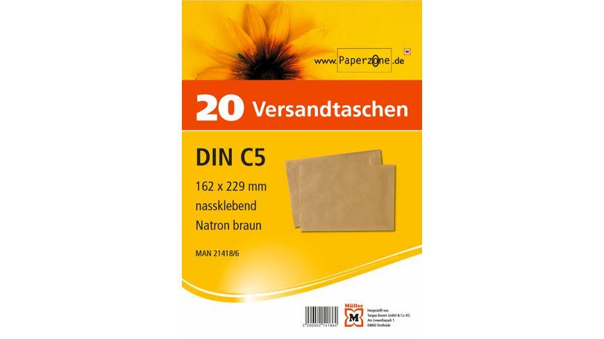 PAPERZONE Versandtasche C5 nassklebend braun