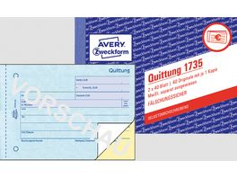 AVERY Zweckform Quittung 1735 MwSt separat ausgewiesen 1 2 Blatt bedr SD DIN A6 quer