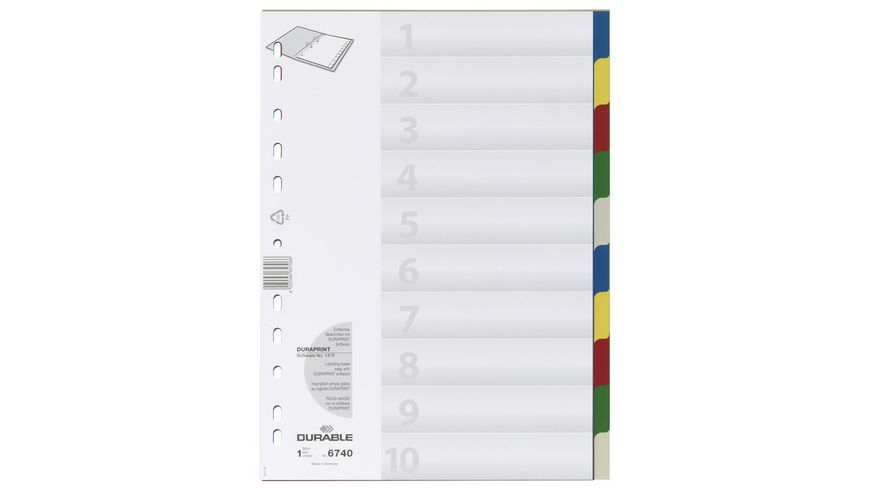 DURABLE Register A4 10 Blatt mit farbigen Taben