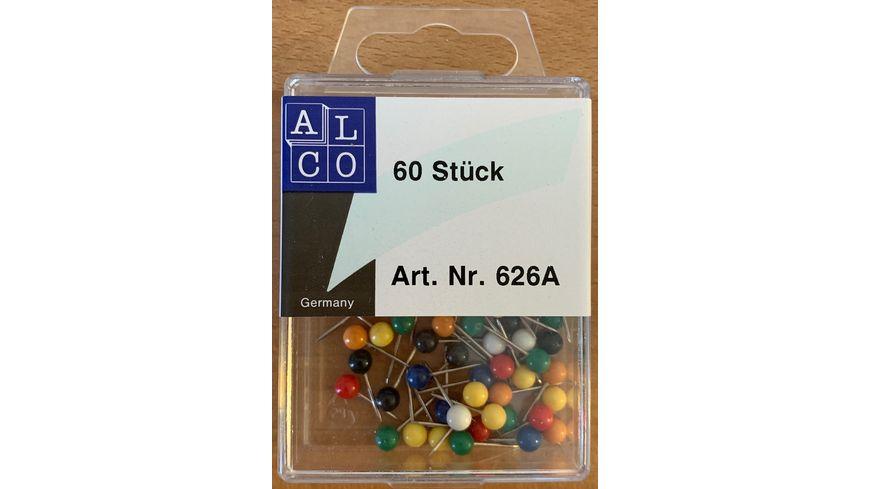 ALCO Landkarten Nadeln 60 Stueck farbig