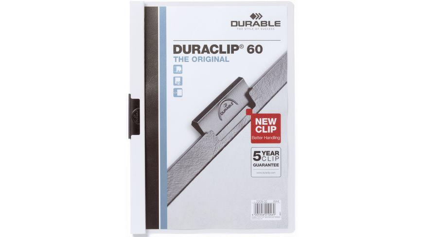 DURABLE Klemm Mappe DURACLIP A4 60 Blatt weiss