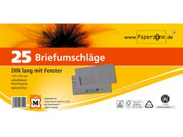 PAPERZONE Briefumschlag mit Fenster DIN lang selbstklebend recycling grau