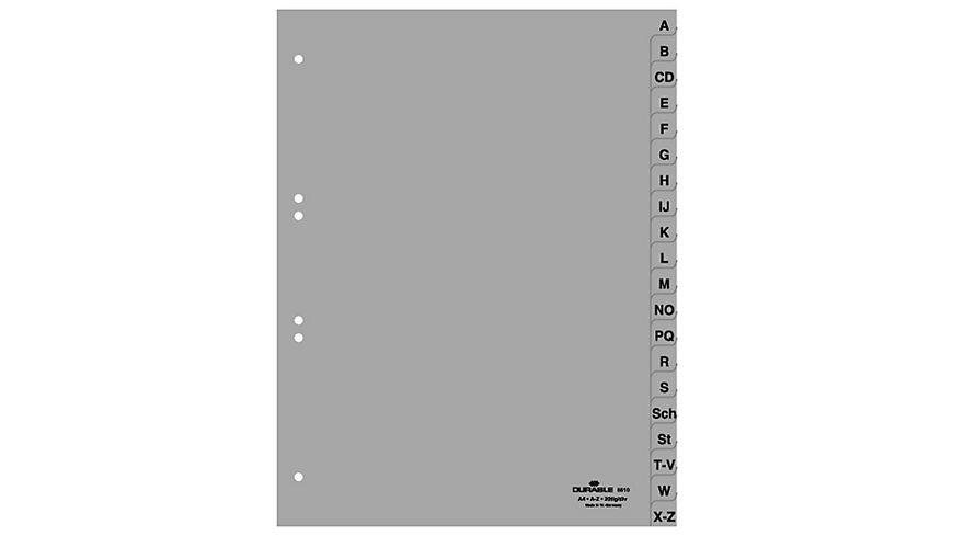 DURABLE Kunststoffregister A Z grau 20 teilig