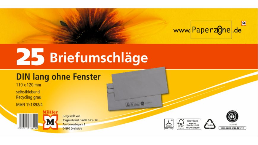 PAPERZONE Briefumschlag DIN lang selbstklebend recycling grau