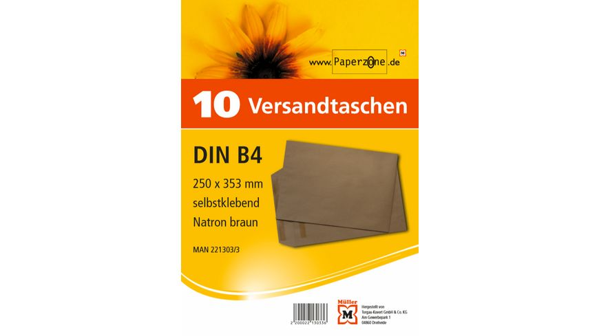 PAPERZONE Versandtasche B4 selbstklebend braun