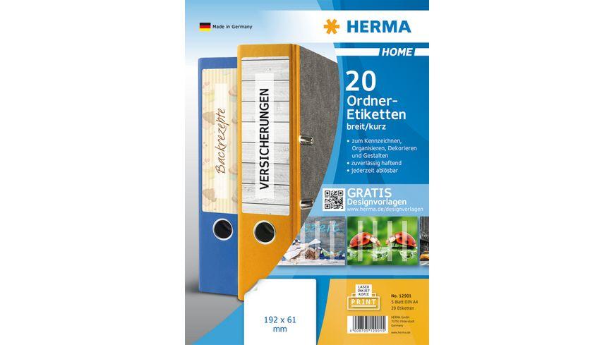 HERMA Abloesbare Ordneretiketten A4 192x61mm weiss blickdicht fuer breite Ordner kurz